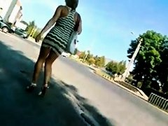 Very appealing bimbo in tight miniskirt gets followed in this street candid voyeur video and she looks very fuckable. Her legs are great and her booty