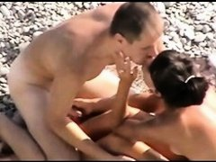 Voyeur on public beach. Charming Angel fingering her boyfriend