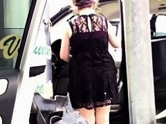 Car wash babe black dress 1